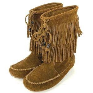 Minnetonka Women Moccasin Dbl Fringe Boots Size 7